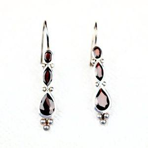 Garnet 925 Silver Earrings